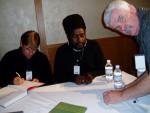 July 2004 - Jan Middendorp, Safi Mafundikwa & AJ exchanging autographs TypeCon, San Francisco photo: the Duchess