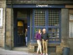Carlyle Johnston (in door), Aggie Falk, Asa Benveniste, Imprint Books, Hebden Bridge, August 1982