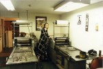 Frances Butler printing at Poltroon Press, February 1986